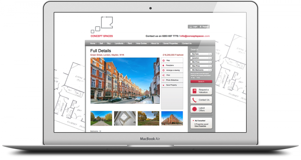 Website Design and Development for London based Estate Agent Portfolio 2